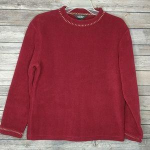 WOOLRICH Fleece Top Red Cranberry Size Medium